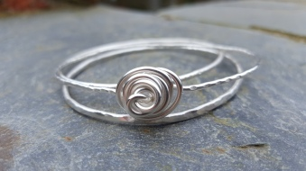 Sterling Silver Stackers one with Rose detail