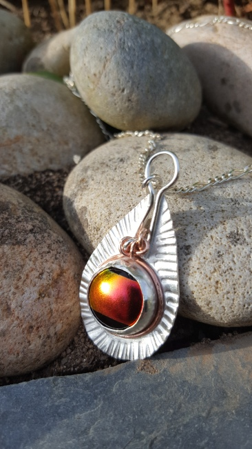 Dichroic/Sterling Silver & Copper Pendant