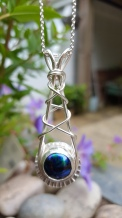 Dichroic/Sterling Silver cross over pendant