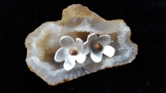Silver flower studs, copper centres £35.00