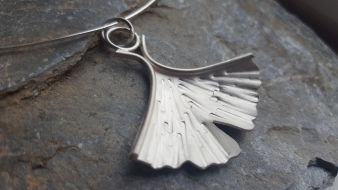 Solid Silver Ginko Pendant, on Sterling Silver Omega choker £125.00