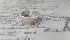 Heart stamped adjustable ring
