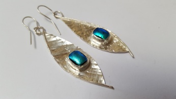 Sterling Silver and Dichroic Drop earrings SOLD can be made to order