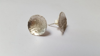 Sterling Silver textured dome stud earrings