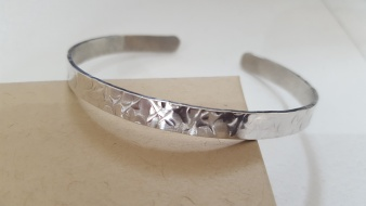 Hammered Sterling Silver Torque Bangle, adjustable, Hallmarked