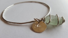 Silver bangle with Silver Love charm and seaglass £45.00