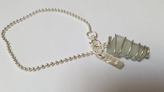 Seaglass bracelet, Silver ball chain £42.00