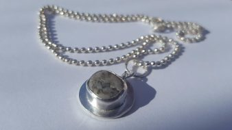 Grey Pebble on Silver, Silver ball chain £75.00