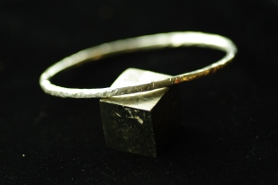 Sterling Silver chunky hammered bangle