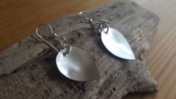 Burushed Silver Drop earrings, slightly domed. L approx 48mm, W approx 20mm. £65.00 also available in Shiny finish.