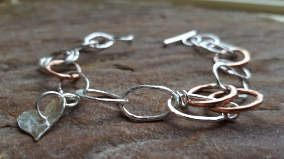 Mix of Sterling Silver and copper loop bracelet