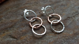 Sterling Silver and Copper loop link ear studs hammered texture