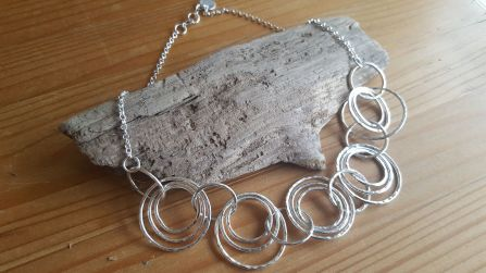 Silver link necklace for that special occasion, made from 3 different size loops. Hallmarked tag applied