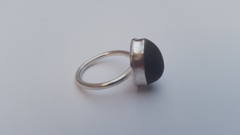 Black Pebble and Silver ring £68.00 SOLD