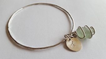 Silver Bangle with Seaglass and Silver charm £45.00