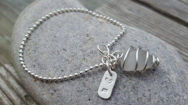 Seaglass and silver ball chain bracelet £42.00