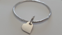 Chunky Silver Heart Bangle £58.00