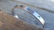 Surf Stamped Solid silver torque Bangle