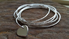Silver Stacking Bangles plus Heart £68.00