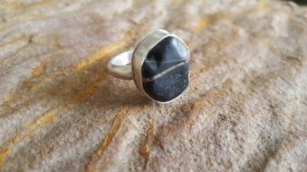Black Pebble pendant UK Size K Set on Silver £68.00