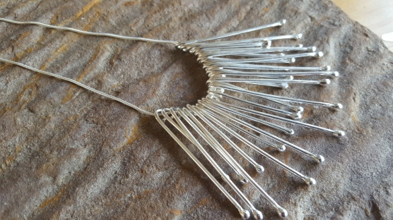 Silver wire drop statement necklace