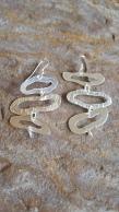 Irregular shaped hand sawn drop earrings