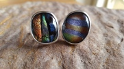 Cufflinks Individually made with dichroic cabochons set in Silver