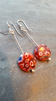 Millefiori glass bead earrings
