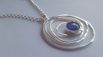 Blue Dichroic with Silver Art Deco pendant