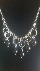 Black and Silver Statement necklace, using Black large beads and smaller black crystals