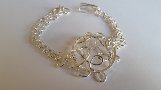 Silver wire and chain bracelet
