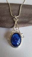 Silver and Blue Florentine style pendant