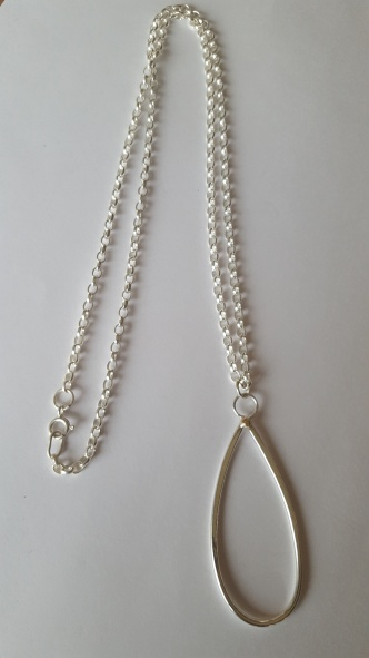 Simple Hoop Sun Ball pendant on long Silver Chain