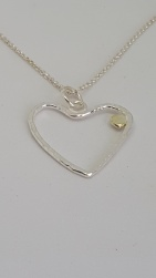 Hammered Silver Heart with Solid Gold Nugget on a delicate Silver Chain £39.00