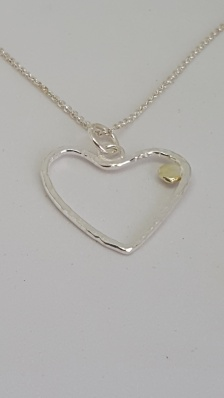 Hammered Silver Heart with Solid Gold Nugget on a delicate Silver Chain