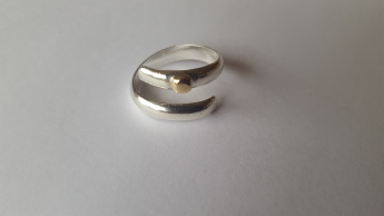 Ecosilver wrap ring with gold bead
