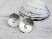 Brushed Eco Silver Wave Studs