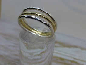 Stacking ring set solid silver and solid 9ct gold