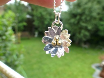 Silver Daisy Necklace with Fairtrade Gold Beads £85.00