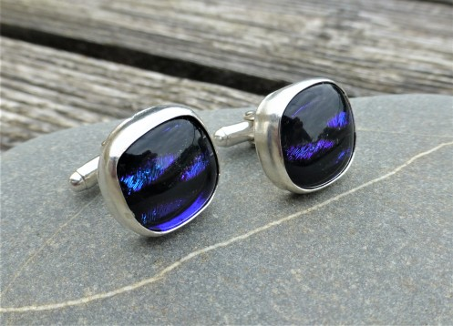 Dichroic Handfused Glass and Sterling Silver Cufflinks