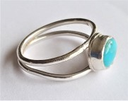 Sterling Silver and Turquoise Gemstone Ring. UK Size M. £32.00