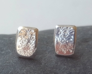Flower stamped Silver Stud Earrings £26.00