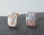 Flower stamped Silver Stud Earrings £26.00