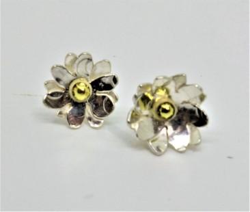 Silver Daisy Ecosilver and Fairtrade Gold Studs. £50.00