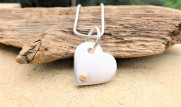 Solid chunky Silver Heart with 9ct Ecogold Bead