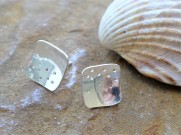Square Eco silver Stud Earrings with holes. £22.00