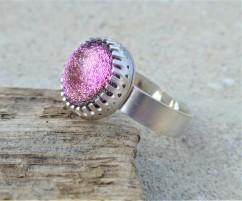 Pink Dichroic Statement Ring