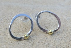 EcoSilver and Fairtrade 18ct Gold Bead Studs