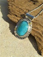 Eco-Silver and Turquoise Gemstone Pendant with Fairtrade 18ct Gold