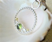 Sterling Silver Beaded Pendant with Peridot Gemstone and Fairtrade 18ct Gold
